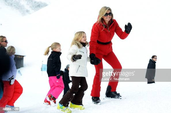 Princess Ariane and Queen Maxima of the Netherlands attends the annual winter photocall on February 17 2014 in Lech Austria