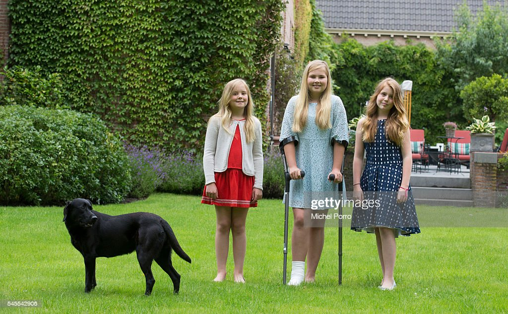 Princess Ariane, Crown Princess Catharina Amalia and Princess Alexia of The Netherlands pose for pictures during the annual summer photo call at their residence Villa Eikenhorst on July 8, 2016 in Wassenaar, Netherlands.