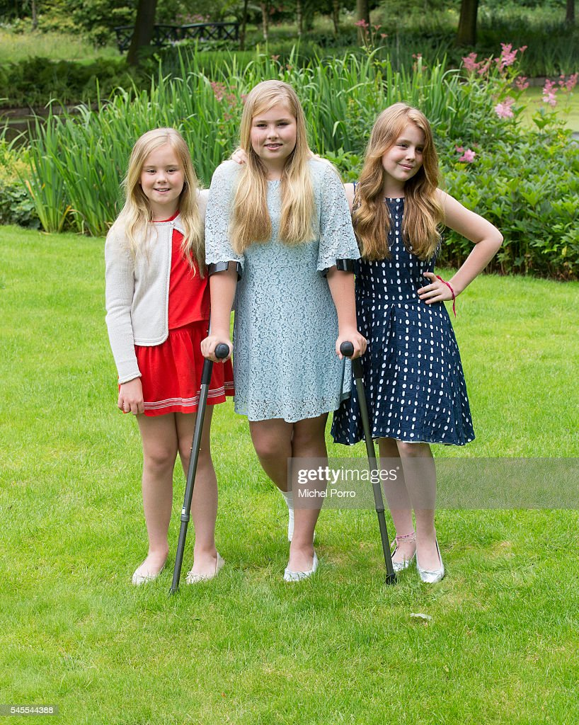 Princess Ariane, Crown Princess Catharina-Amalia and Princess Alexia of The Netherlands pose for pictures during the annual summer photo call at their residence Villa Eikenhorst on July 8, 2016 in Wassenaar, Netherlands.