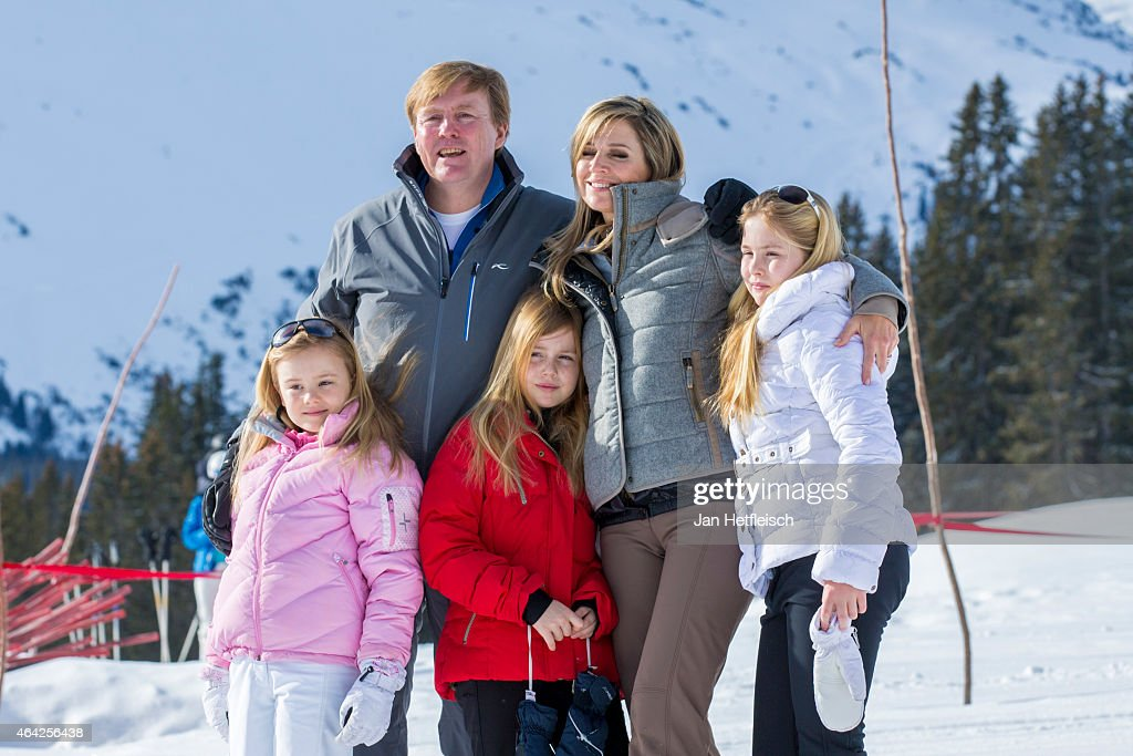 Princess Ariane, King Willem-Alexander of the Netherlands, Princess Alexia, Queen Maxima of the Netherlands and Princess Catharina-Amalia pose for a picture at the annual winter photocall on February 23, 2015 in Lech, Austria.