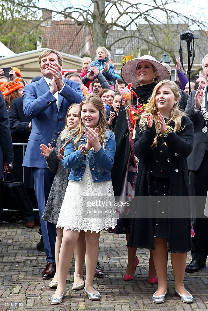 Princess Ariane of The Netherlands, King Willem-Alexander of The Netherlands, Princess Alexia of The Netherlands, Queen Maxima of The Netherlands and Crown Princess Catharina-Amalia of The Netherlands cheer at the crowd during King's Day (Koningsdag), the celebration of the birthday of the Dutch King, on April 27, 2016 in Zwolle, Netherlands. Parties and concerts are held across the Netherlands as members of the Dutch royal family oversee festivities.