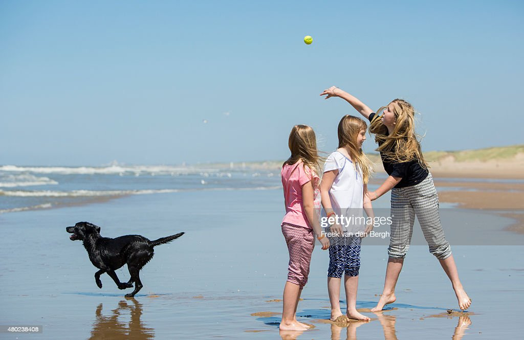 Princess Ariane, Princess Alexia and Princess Amalia of The Netherlands and one of their dogs pose for pictures on July 10, 2015 in Wassenaar, Netherlands.