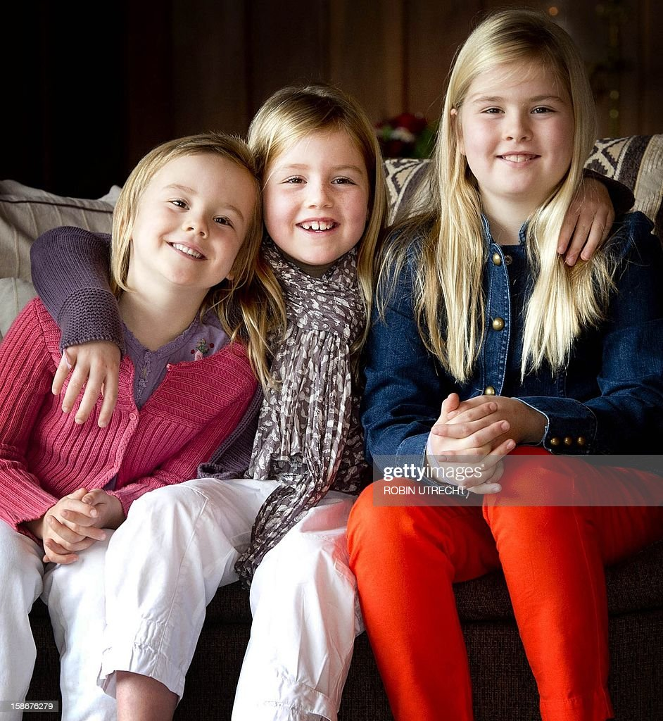 Princess Ariane, Princess Alexia and Princess Amalia pose for a photograph, during a photo shoot at El Messidor, the residence of the governor of the province of Neuquen, in Villa la Angustura, Argentina, on December 23, 2012. The royal couple is spending the Christmas holidays with friends and family in Argentina.