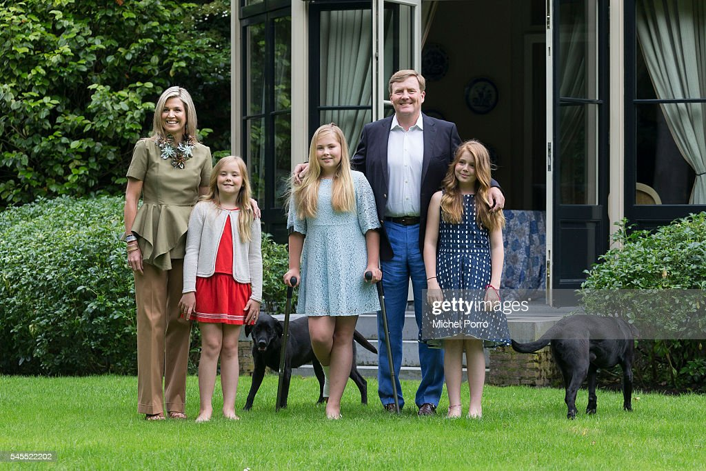 Princess Ariane, Queen Maxima, Crown Princess Catharina-Amalia, King Willem-Alexander and Princess Alexia of The Netherlands pose for pictures during the annual summer photo call at their residence Villa Eikenhorst on July 8, 2016 in Wassenaar, Netherlands.