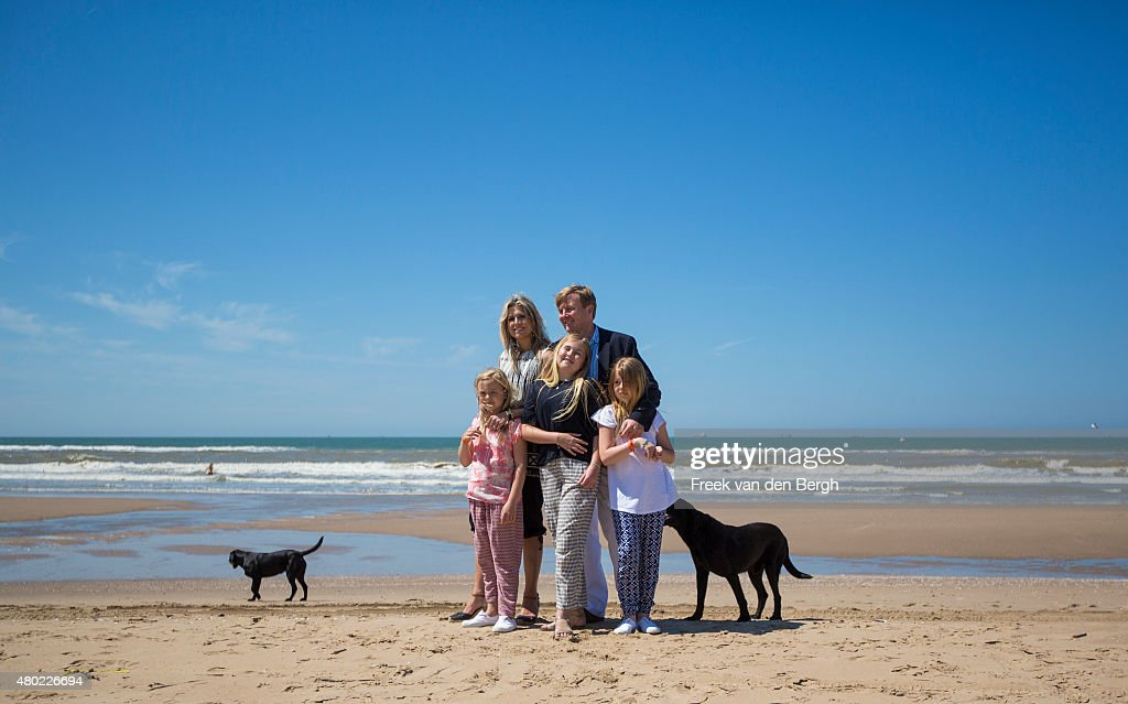 Princess Ariane, Queen Maxima, Princess Amalia, <a gi-track='captionPersonalityLinkClicked' href=/galleries/search?phrase=King+Willem-Alexander&family=editorial&specificpeople=160214 ng-click='$event.stopPropagation()'>King Willem-Alexander</a> and Princess Alexia of The Netherlands and their dogs pose for pictures on July 10, 2015 in Wassenaar, Netherlands.