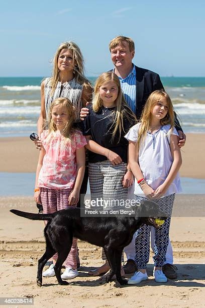 Princess Ariane Queen Maxima Princess Amalia King WillemAlexander and Princess Alexia of The Netherlands and one of their dogs pose for pictures on...