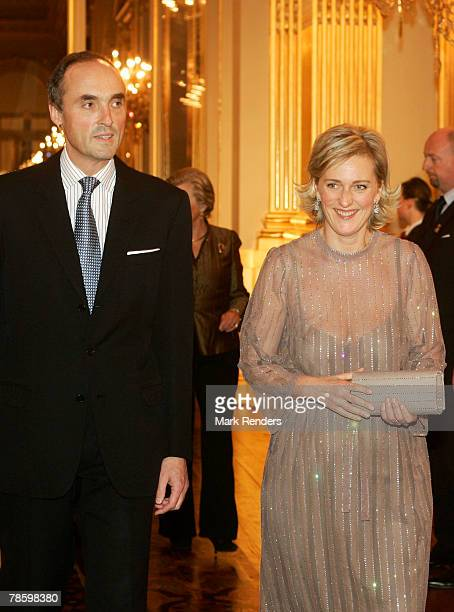 Princess Astrid and Prince Lorentz from the Belgian Royal Family arrive at the Brussels Royal Palace to attend a Christmas Concert on December 20...