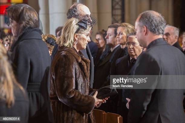 Princess Astrid and Prince Lorentz of Belgium attend the funeral of Queen Fabiola at Notre Dame Church on December 12 2014 in Laeken Belgium