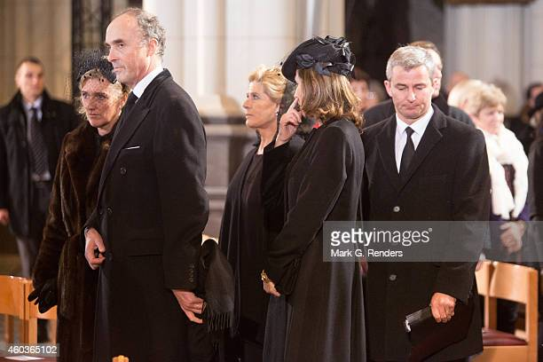 Princess Astrid and Prince Lorentz of Belgium attend the funeral of Queen Fabiola of Belgium at Notre Dame Church on December 12 2014 in Laeken...