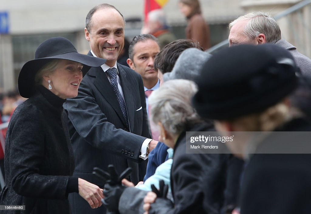 Princess Astrid and Prince Lorentz of Belgium greet the crowd at Cathedrale des Saints-Michel-et-Gudule on November 15, 2012 in Brussels, Belgium.
