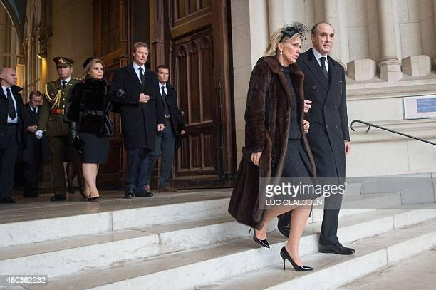 Princess Astrid and Prince Lorenz of Belgium leave the church NotreDame after the funeral service of the late queen dowager Fabiola in Brussels on...