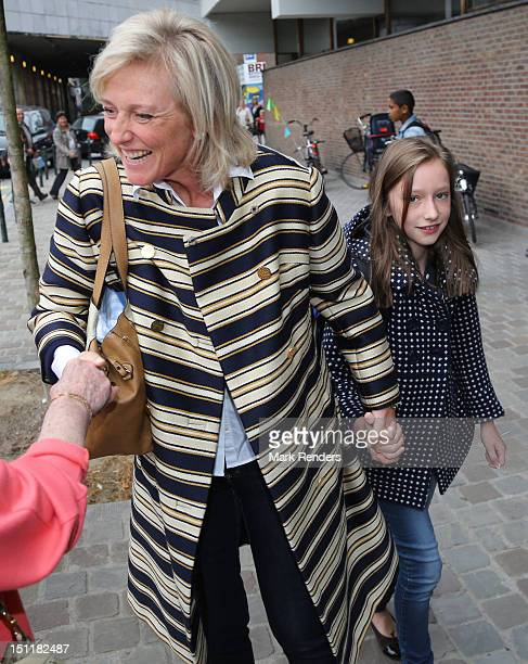 Princess Astrid and Princess Laetitia Maria of Belgium attend first day of school at Sint Jan Berghmans College on September 3 2012 in Brussels...