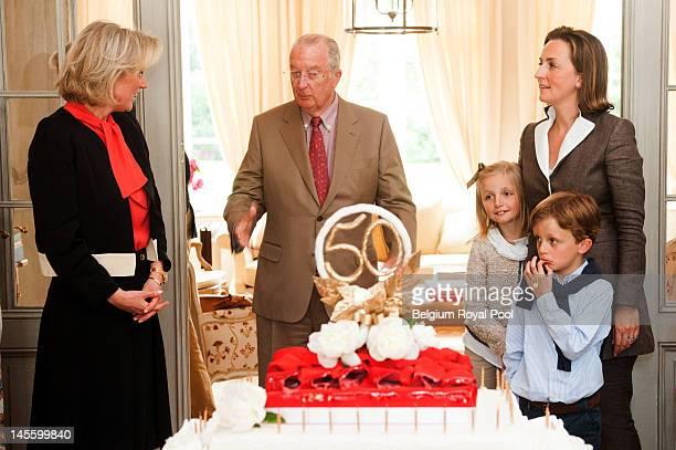 Princess Astrid King Albert Princess Louise Prince Nicolas and Princess Claire of Belgium assist at Princess Astrid's 50th birthday at Schonenberg...