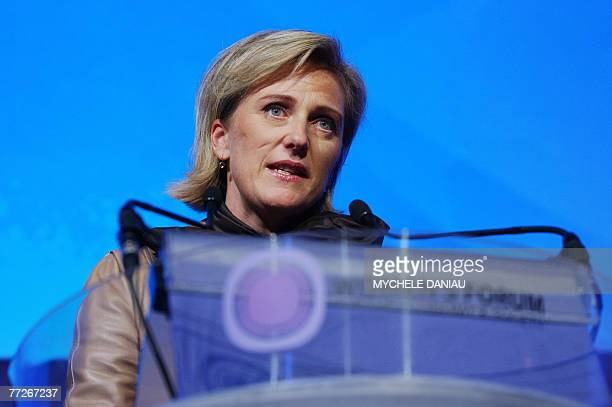 Princess Astrid of Belgium addresses the plenary luncheon about 'Humanitarian Action in the 21st Century' on the first day of the Women's Forum for...