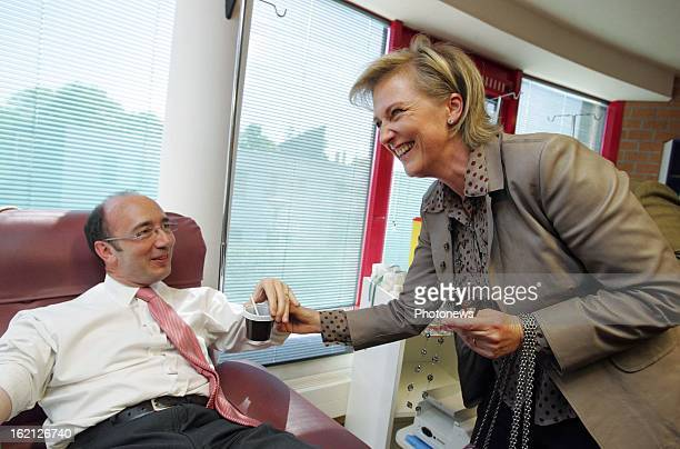 Princess Astrid of Belgium and Minister Rudy Demotte visit the Red Cross Centre for blood transfusion