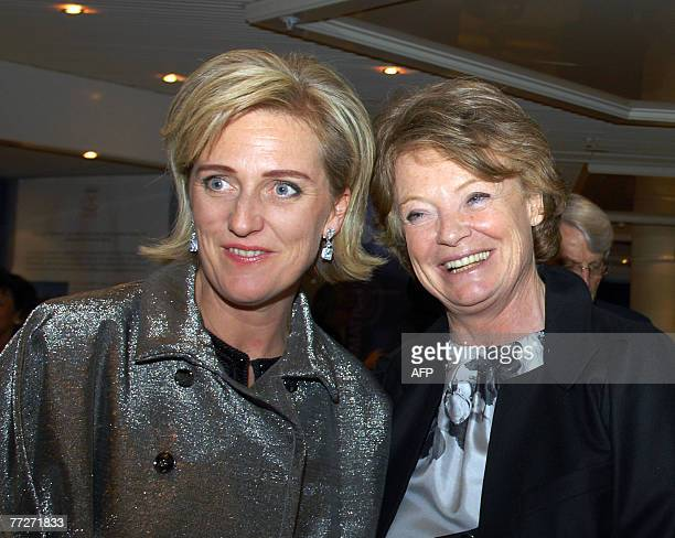 Princess Astrid of Belgium is welcomed by Aude Zieseniss de Thuin prior a gala dinner on the first day of the Women's Forum at the Deauville...