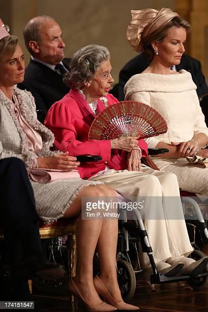 Princess Astrid of Belgium Queen Fabiola of Belgium and Princess Mathilde of Belgium seen during the Abdication Of King Albert II Of Belgium...