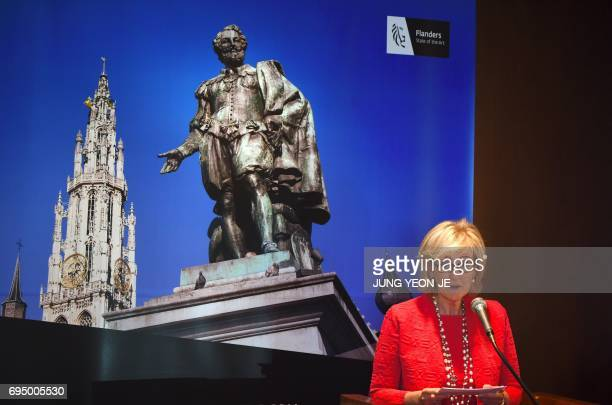 Princess Astrid of Belgium speaks at a tourism seminar hosted by the Flanders Tourist Board in Seoul on June 12 2017 Princess Astrid arrived in South...