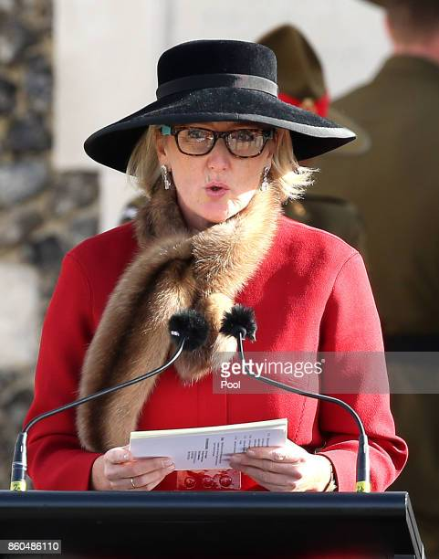 Princess Astrid of Belgium speaks at the New Zealand national commemoration for the Battle of Passchendaele at Tyne Cot Cemetery on October 12 2017...