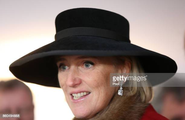 Princess Astrid of Belgium speaks to guests as she attends a reception for the Battle of Passchendaele at Tyne Cot Cemetery on October 12 2017 in...