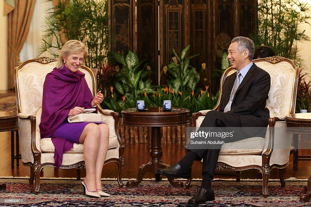 Princess Astrid Of Belgium (L) visits Prime Minister of Singapore, Lee Hsien Loong at the Istana on November 27, 2014 in Singapore. Princess Astrid Of Belgium is in Singapore for a three days official visit to promote economic and research development between the two countries.