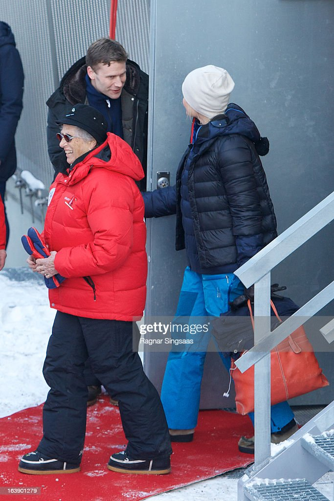 Princess Astrid of Norway and Princess Mette-Marit of Norway attend FIS World Cup Nordic Holmenkollen 2013 on March 17, 2013 in Oslo, Norway.