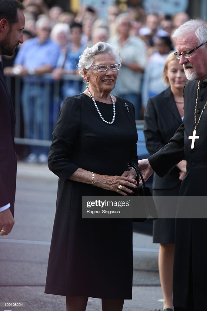 Princess Astrid of Norway arrives at a memorial service for the victims of Oslo's twin terror attacks at Oslo Cathedralon July 30 2011 ion Oslo...