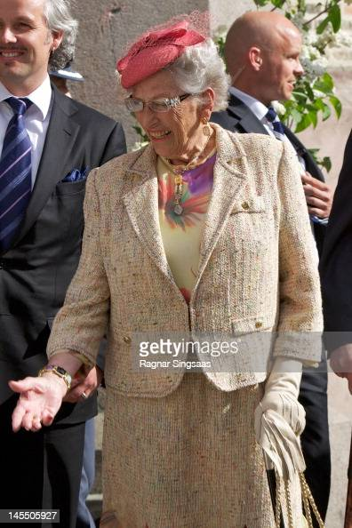 Princess Astrid of Norway attends a church service on the occasion of King Harald and Queen Sonja of Norway's 75th birthdays at Oslo Cathedral on May...