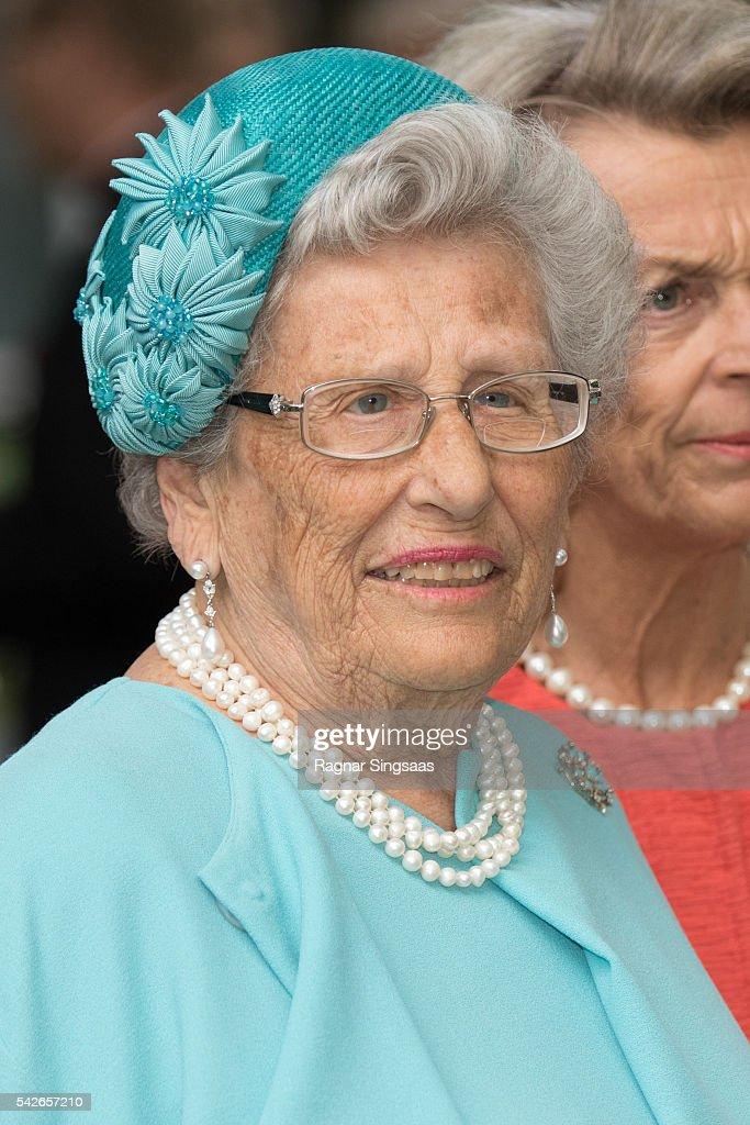 Princess Astrid of Norway attends a garden party during the Royal Silver Jubilee Tour on June 23 2016 in Trondheim Norway