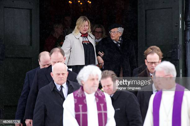Princess Astrid of Norway attends the Funeral Service of her husband Mr Johan Martin Ferner on February 2 2015 in Oslo Norway