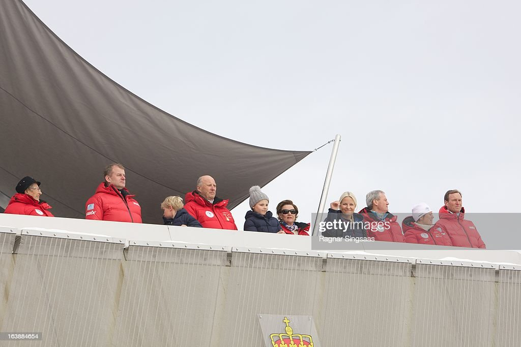 Princess Astrid of Norway, Prince Sverre Magnus of Norway, King Harald V of Norway, Princess Ingrid Alexandra of Norway, Queen Sonja of Norway and Princess Mette-Marit of Norway attend FIS World Cup Nordic Holmenkollen 2013 on March 17, 2013 in Oslo, Norway.