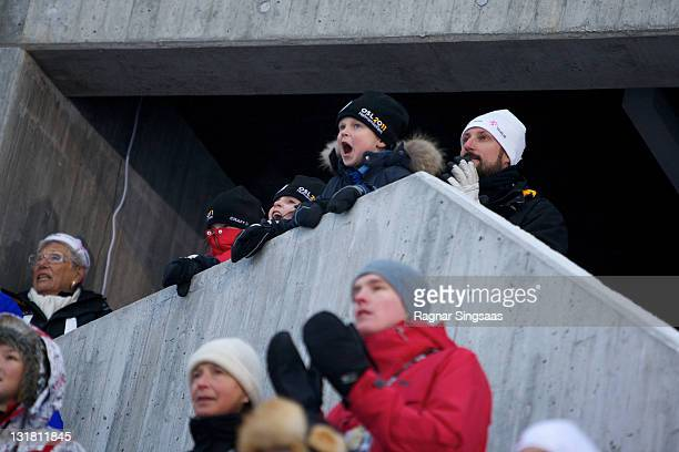 Princess Astrid of Norway Princess Ingrid Alexandra of Norway Prince Sverre Magnus of Norway and Prince Haakon of Norway attend the FIS Nordic World...