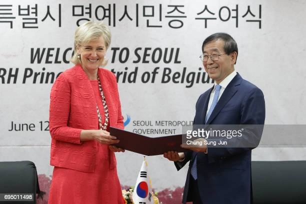 Princess Astrid receives an honorary citizenship of Seoul from the Mayor of Seoul Park WonSoon at city hall on June 12 2017 in Seoul South Korea...