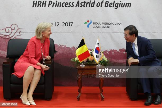 Princess Astrid talks with Mayor of Seoul Park WonSoon at city hall on June 12 2017 in Seoul South Korea Princess Astrid of Belgium arrived in South...