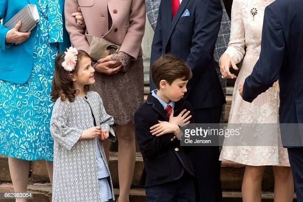 Princess Athena and Prince Henrik during their brother Prince Felix confirmation at Fredensborg Palace church on April 1 2017 in Fredensborg Denmark...