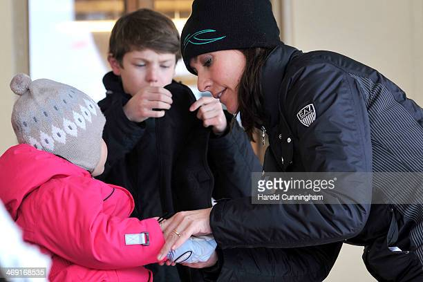Princess Athena of Denmark and Princess Marie of Denmark meet the press whilst on skiing holiday in Villars on February 13 2014 in VillarssurOllon...