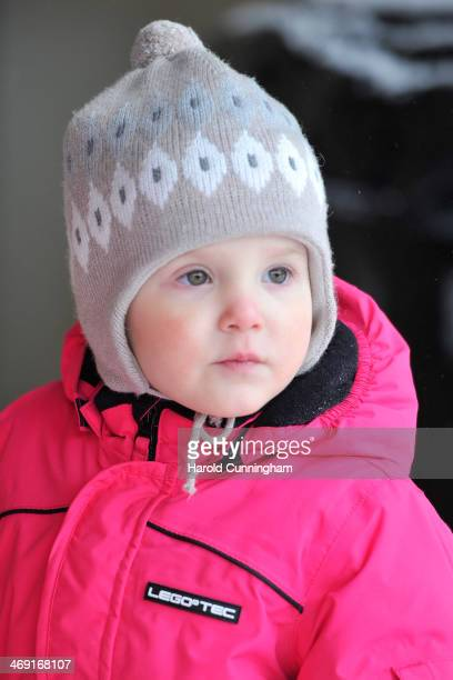 Princess Athena of Denmark meets the press whilst on skiing holiday in Villars on February 13 2014 in VillarssurOllon Switzerland