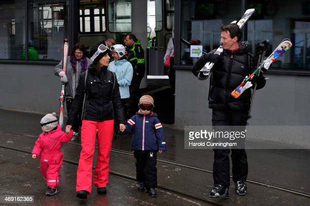 Princess Athena of Denmark Princess Marie of Denmark Prince Henrik of Denmark and Prince Joachim of Denmark meet the press whilst on skiing holiday...