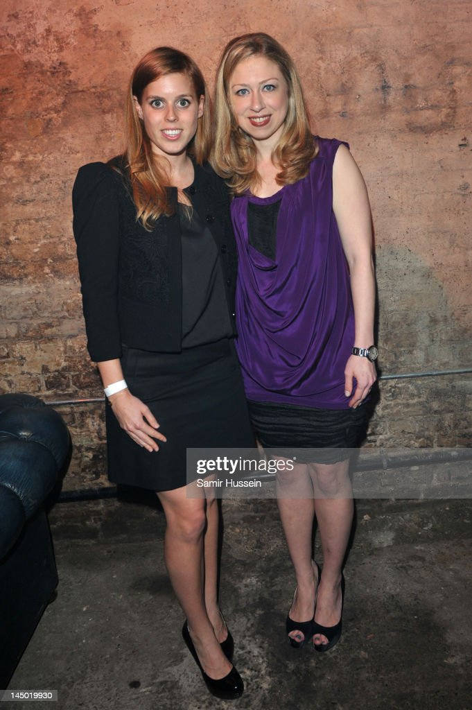 Princess Beatrice and <a gi-track='captionPersonalityLinkClicked' href=/galleries/search?phrase=Chelsea+Clinton&family=editorial&specificpeople=119698 ng-click='$event.stopPropagation()'>Chelsea Clinton</a> arrive at 'A Night Out With The Millennium Network' at the Old Vic Tunnels, presented by The Clinton Foundations and The Reuben Foundation. The evening, hosted by Bill Clinton, <a gi-track='captionPersonalityLinkClicked' href=/galleries/search?phrase=Chelsea+Clinton&family=editorial&specificpeople=119698 ng-click='$event.stopPropagation()'>Chelsea Clinton</a>, Gwyneth Paltrow and Will i Am took place on the 22nd May 2012 in London, England.