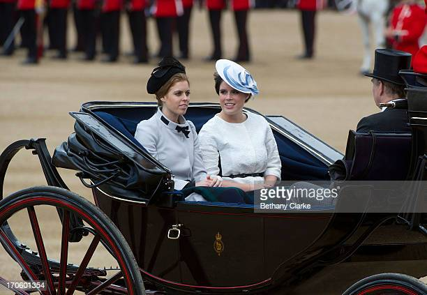 Princess Beatrice and Princess Eugenie and Prince Andrew Duke of York arrive at the annual Trooping the Colour Ceremony on June 15 2013 in London...