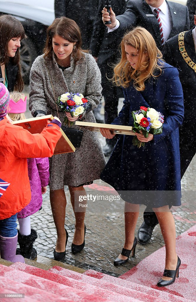 Princess Beatrice and Princess Eugenie arrive at Hanover City Hall on January 18, 2013 in Hanover, Germany. The royal sisters are in Hanover on the second day of a two day visit to Germany.Yesterday the royals were in Berlin helping support GREAT, the British Government's initiative promoting the UK abroad.