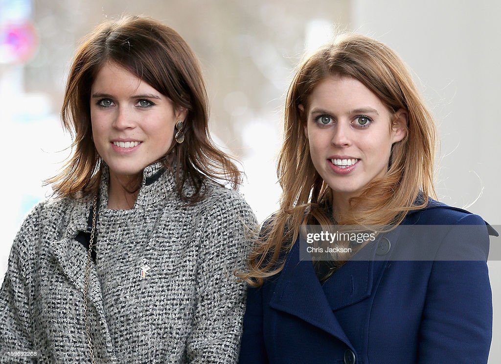 Princess Beatrice (R) and Princess Eugenie arrive to call on Minister David McAllister of Lower Saxony on January 18, 2013 in Hanover, Germany. The royal sisters are in Hanover on the second day of a two day visit to Germany. Yesterday the royals were in Berlin helping support GREAT, the British Government's initiative promoting the UK abroad.