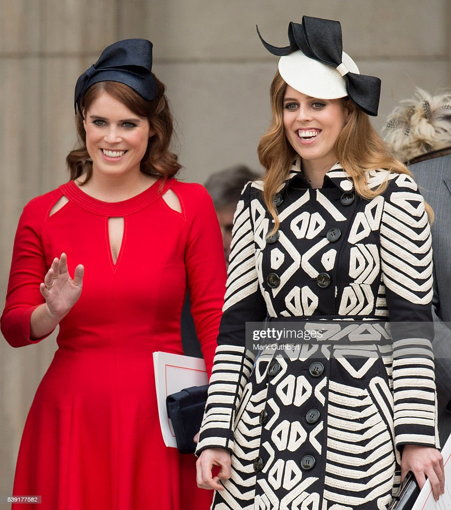 Princess Beatrice and Princess Eugenie attend a National Service of Thanksgiving as part of the 90th birthday celebrations for The Queen at St Paul's...