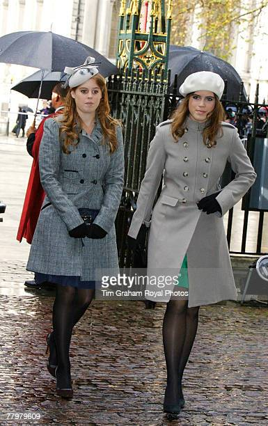 Princess Beatrice and Princess Eugenie attend a service of thanksgiving at Westminster Abbey to celebrate the Queen and Prince Philip's Diamond...