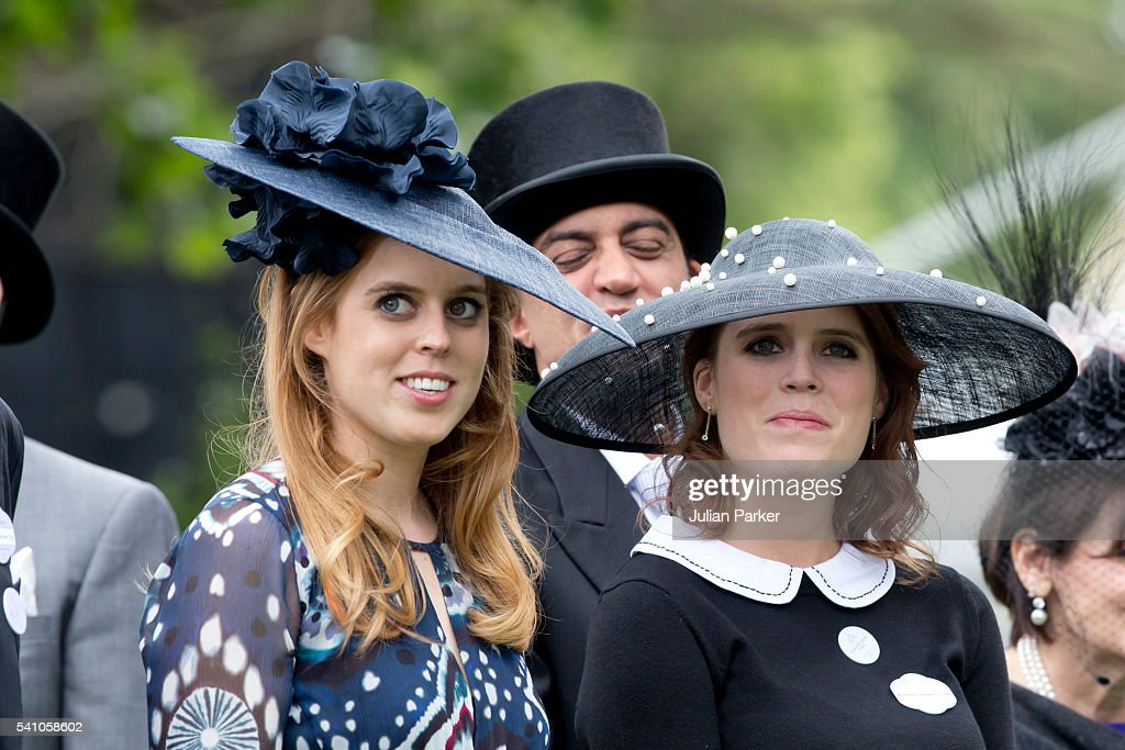 Princess Beatrice, and Princess Eugenie attend day 5 of Royal Ascot at Ascot Racecourse on June 18, 2016 in Ascot, England.
