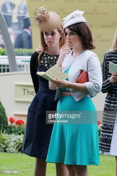 Princess Beatrice and Princess Eugenie attend Ladies' Day on day three of Royal Ascot at Ascot Racecourse on June 20 2013 in Ascot England