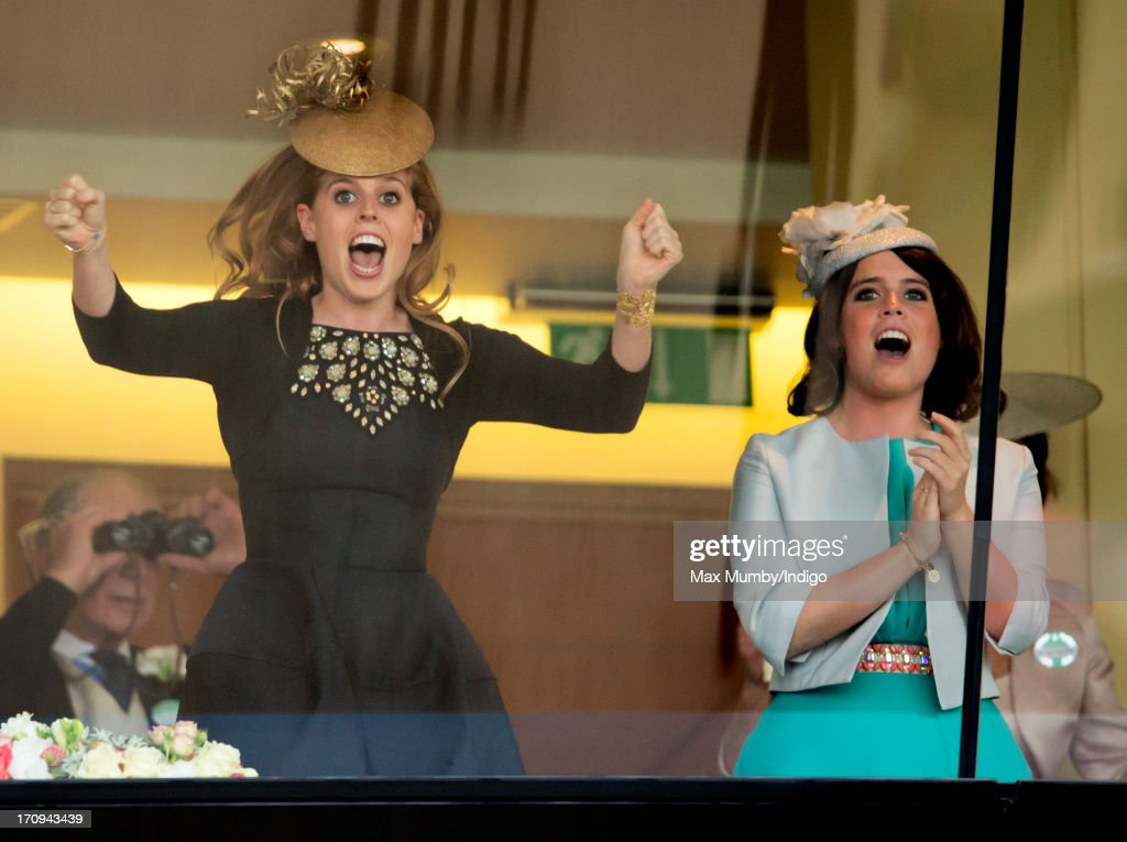 Princess Beatrice and <a gi-track='captionPersonalityLinkClicked' href=/galleries/search?phrase=Princess+Eugenie&family=editorial&specificpeople=160237 ng-click='$event.stopPropagation()'>Princess Eugenie</a> cheer Queen Elizabeth II's horse Estimate to victory in the Gold Cup on Ladies Day of Royal Ascot at Ascot Racecourse on June 20, 2013 in Ascot, England.