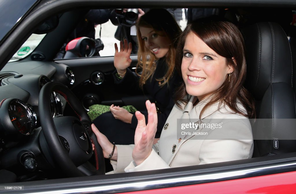 Princess Beatrice and <a gi-track='captionPersonalityLinkClicked' href=/galleries/search?phrase=Princess+Eugenie&family=editorial&specificpeople=160237 ng-click='$event.stopPropagation()'>Princess Eugenie</a> drive a Mini in front of Brandenburg Gate as they promote the GREAT initiative on January 17, 2013 in Berlin, Germany. The royal sisters are in Berlin as supporting the governments GREAT initiative promoting the UK abroad. They will visit Hanover tommorow as part of this two day trip funded by their father the Duke of York.