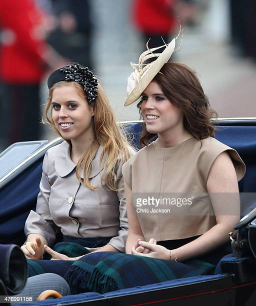 Princess Beatrice and Princess Eugenie during the Trooping the Colour on June 13 2015 in London England The ceremony is Queen Elizabeth II's annual...