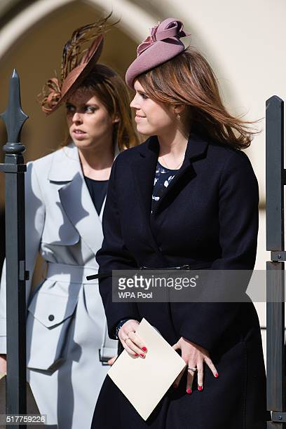 Princess Beatrice and Princess Eugenie leave after the Easter Sunday church service at St George's Chapel Windsor Castle on March 27 2016 in Windsor...